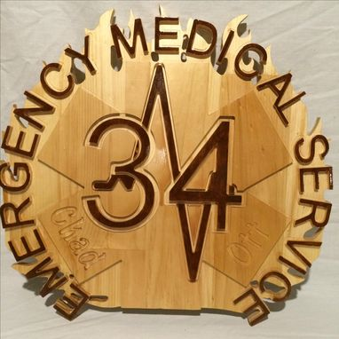 Custom Made Ems Personalized Art Plaque With Engraved Name Wood Carving Sign