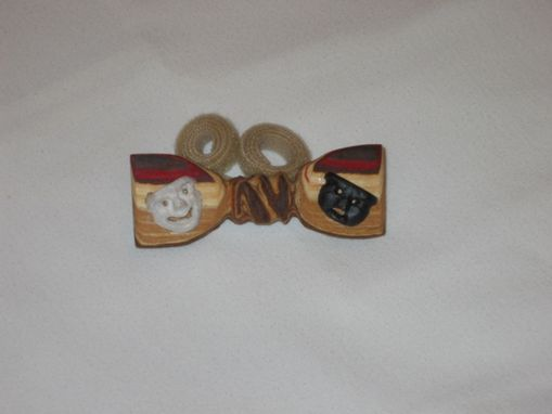 "Custom Made Novelty Bow Tie -  ""Comedy And Tragedy"" In Wood"