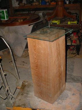 Custom Made Cypress Beam Accent Table Lighted