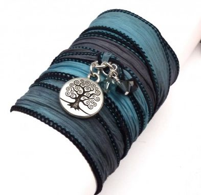 Custom Made Tree Of Life Silk Ribbon Wrap Bracelet