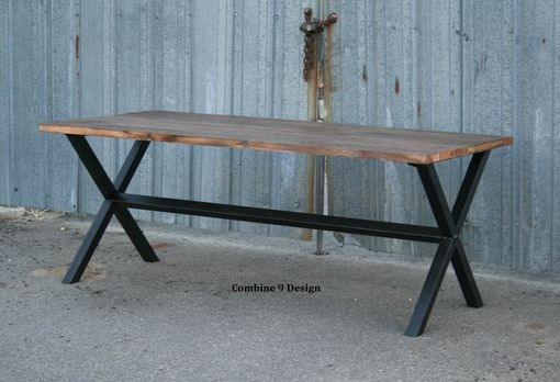 Custom Made Rustic Reclaimed Wood Dining Table. Minimalist, Urban. Reclaimed Wood & Steel