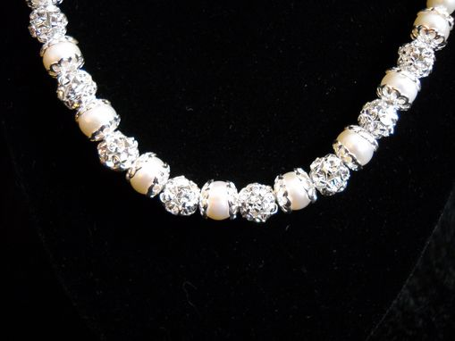 Custom Made Pearl And Swarovski Crystal Wedding Necklace