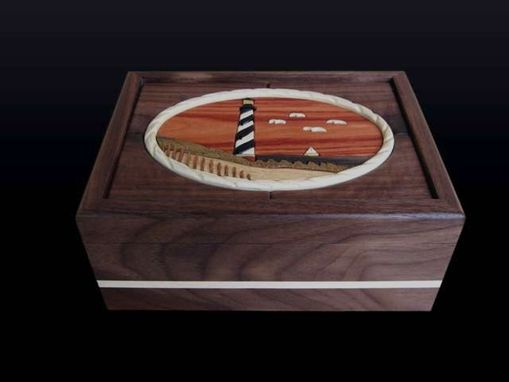 Custom Made Intarsia Hatteras  Lighthouse Keepsake/Jewelry Box