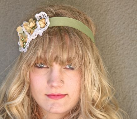 Custom Made Sage Green And Yellow Dress Sash Or Headband