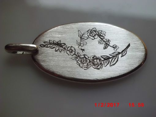 Custom Made Sterling Silver 28mm Long Oval Handmade Hand Engraved Flowers