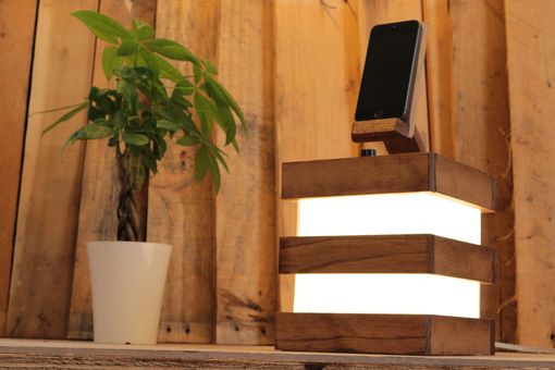 Custom Made Woodwarmth Table & Bedside Lamp + Phone Dock