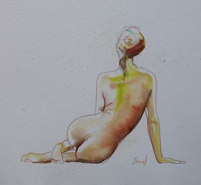 Custom Made Sold - Seated Watercolor Nude, Watercolor Painting