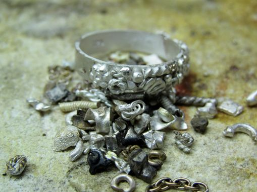 Custom Made Steampunk Wedding Band Set - Made With Recycled Silver