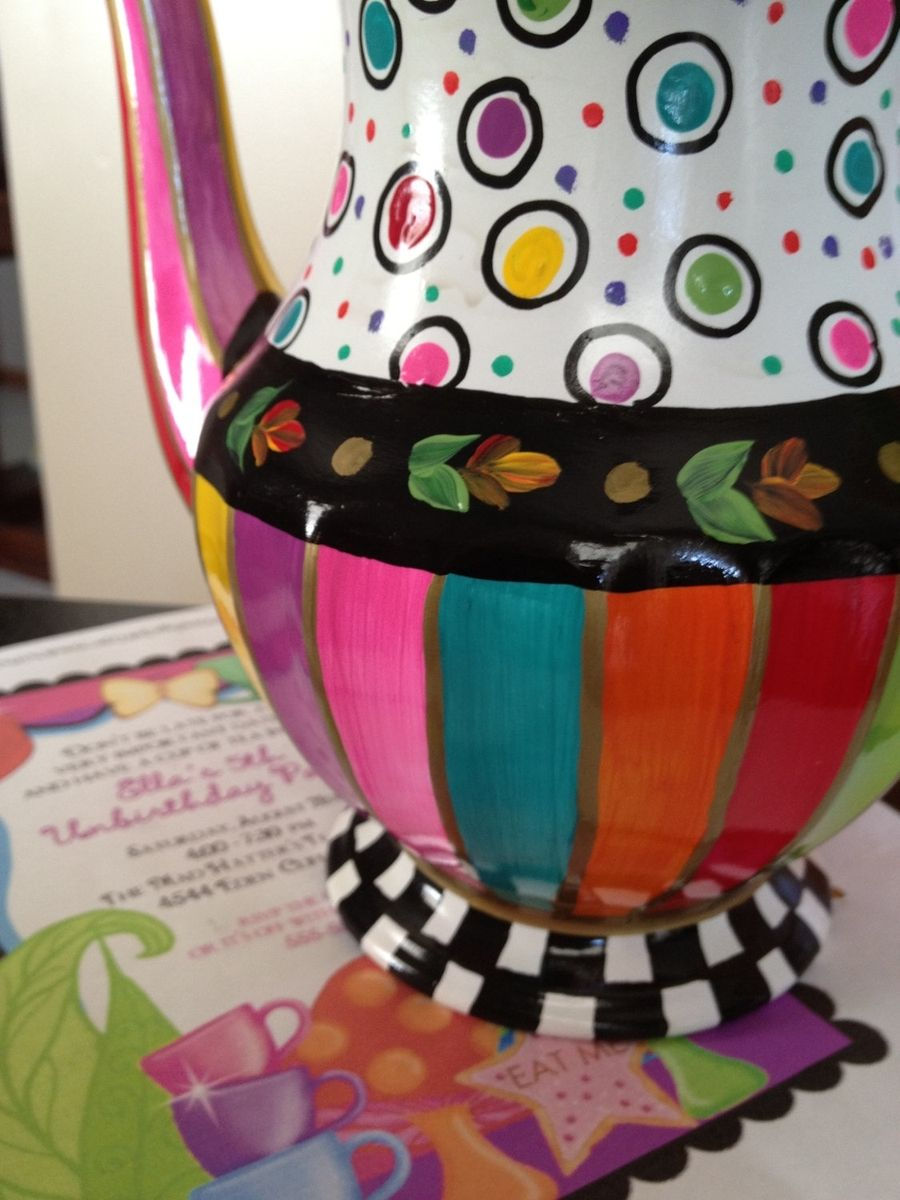 Hand Made Custom Hand Painted Teapot Coffee Pot By Michele