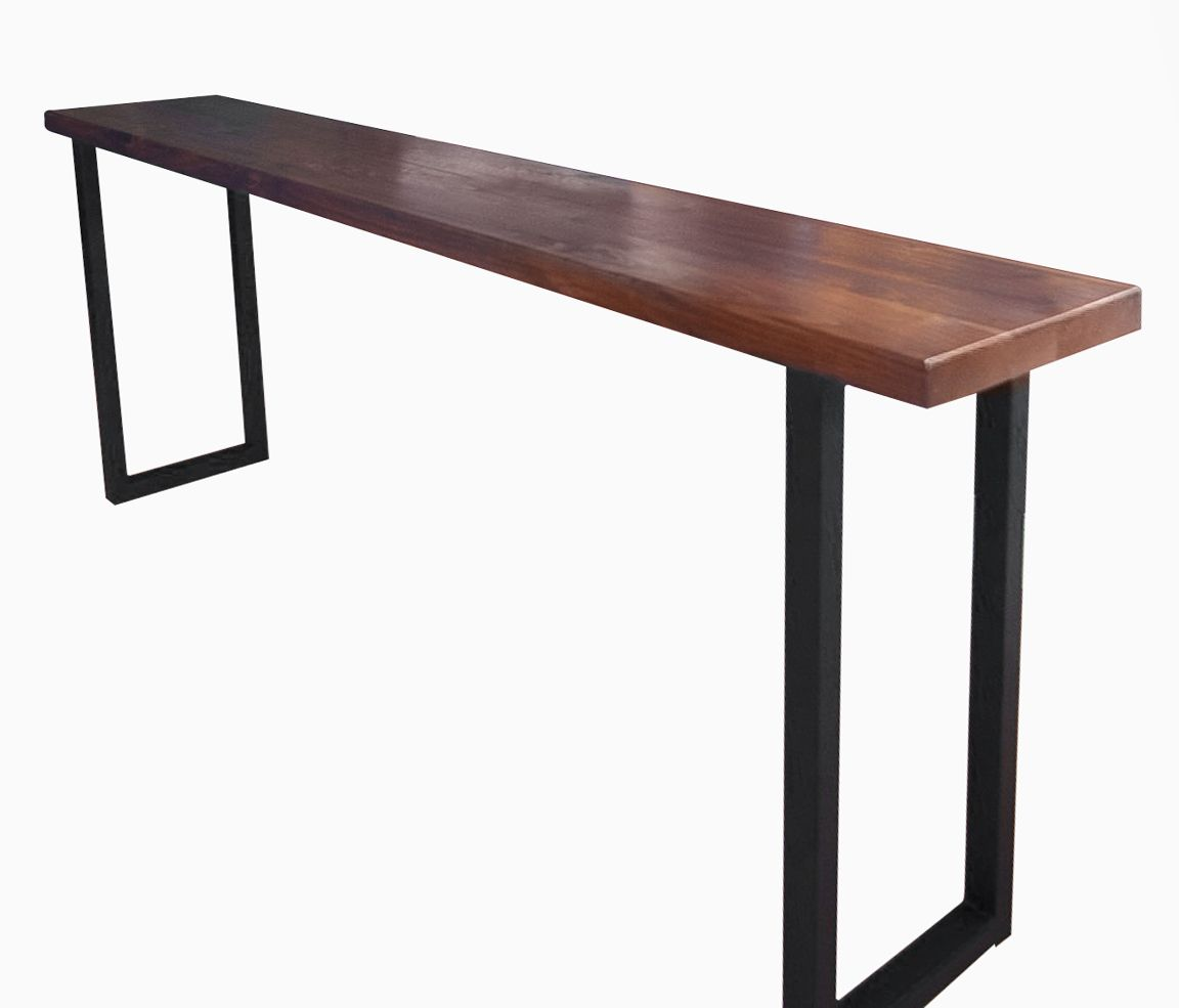 Buy a custom made walnut and steel console table made to for Small metal console table