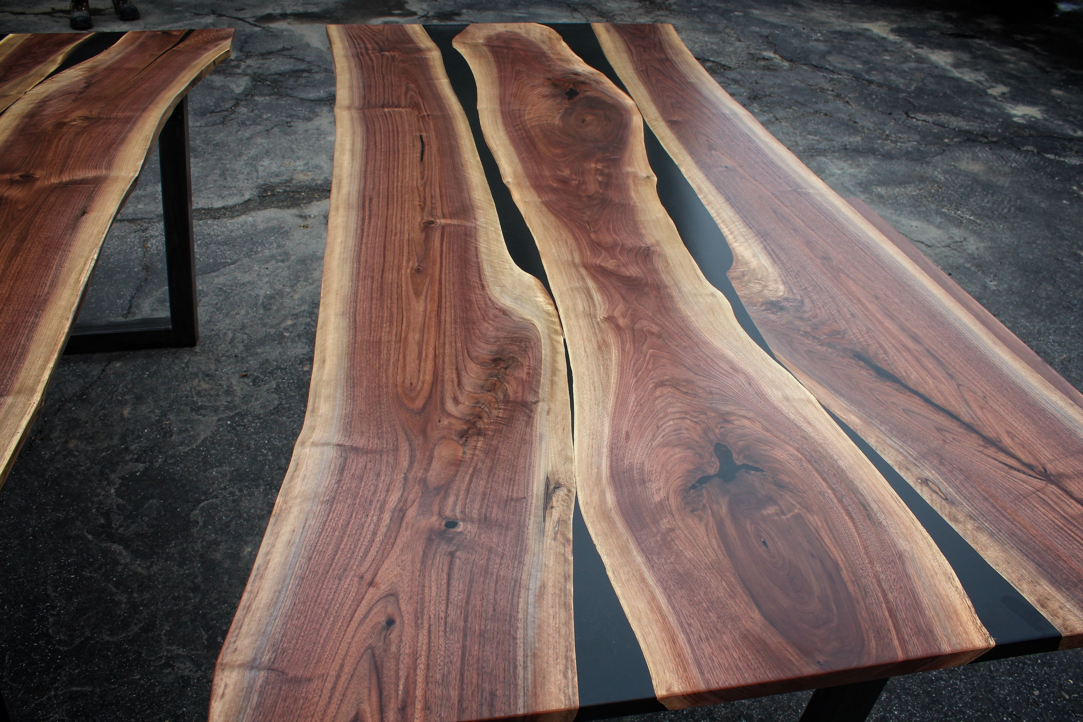 hand crafted black walnut black resin dining table by. Black Bedroom Furniture Sets. Home Design Ideas