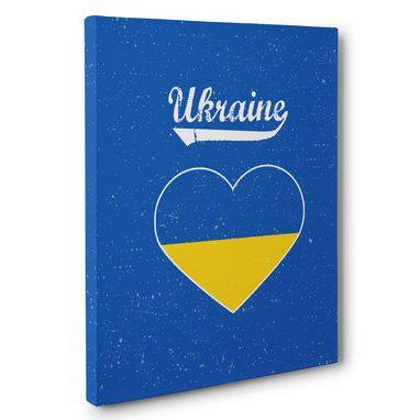Custom Made Retro Ukraine Heart Canvas Wall Art