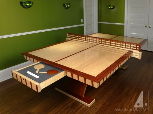 Custom Made Curly Maple And Padauk Ping Pong Table