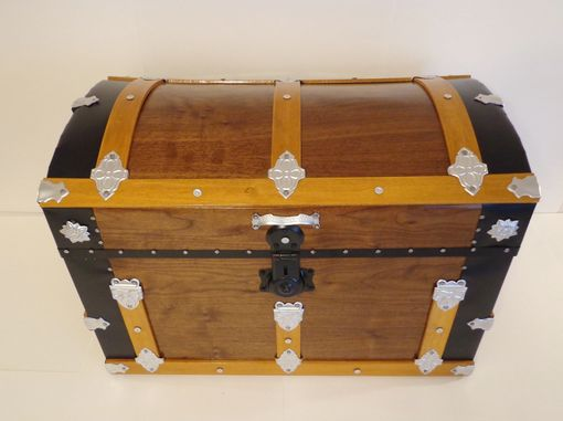 Custom Made Walnut Steamer Trunk, Dome Top Trunk, Blanket Chest, Storage Chest, Antique Trunk