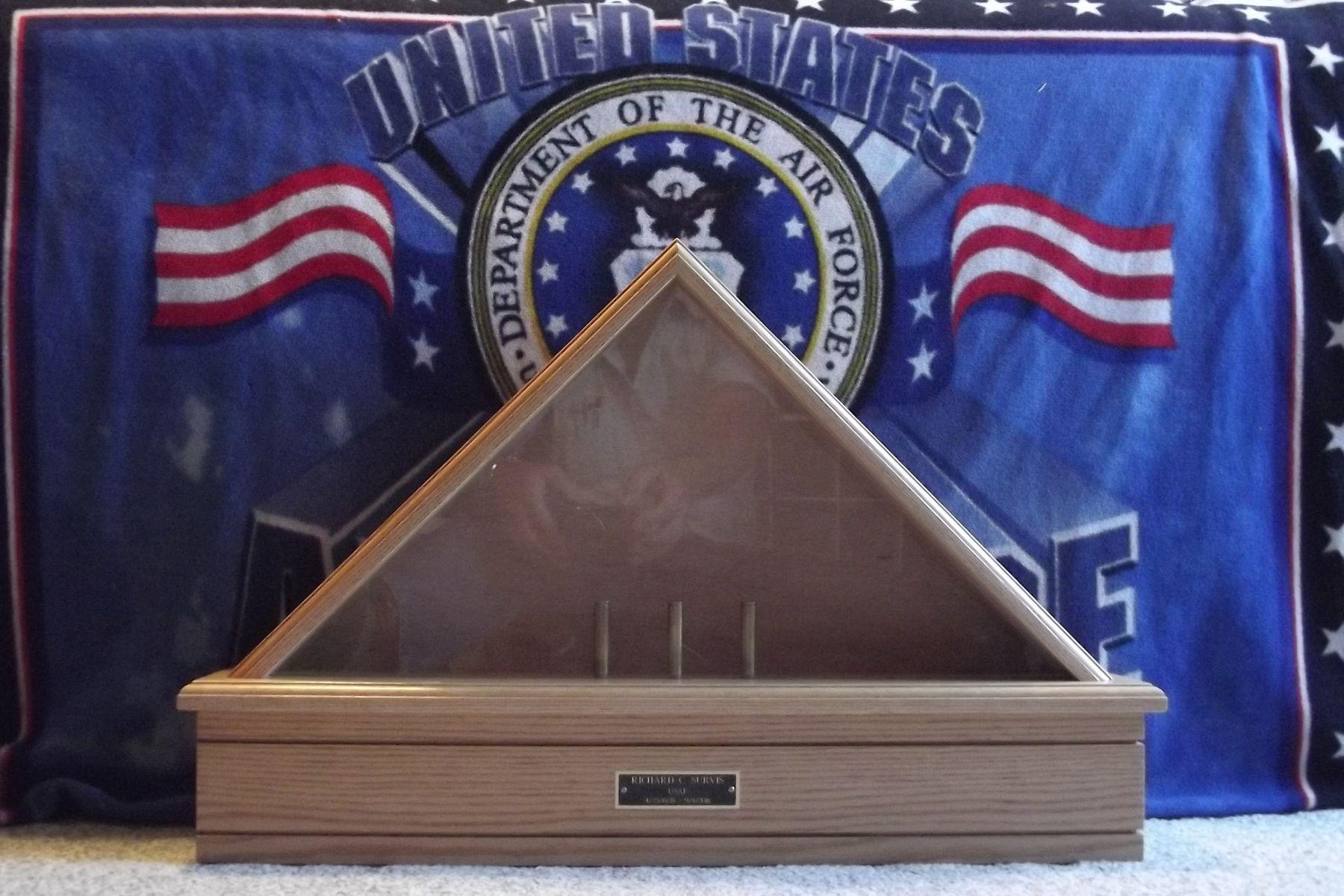 Handmade Customized Classic Oak Flag Display Case By