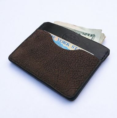 Custom Made Garny №11 - Dark Brown/Black  Minimalist Wallet From Bison And Cow Hide