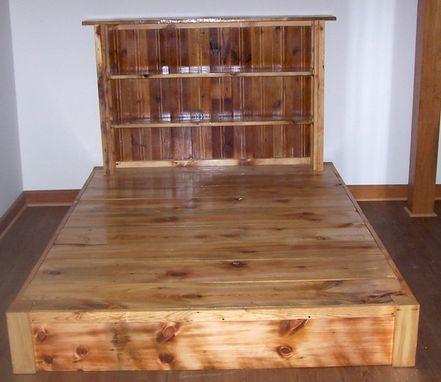 Buy Custom Reclaimed Rustic Pine Platform Bed With Shelf