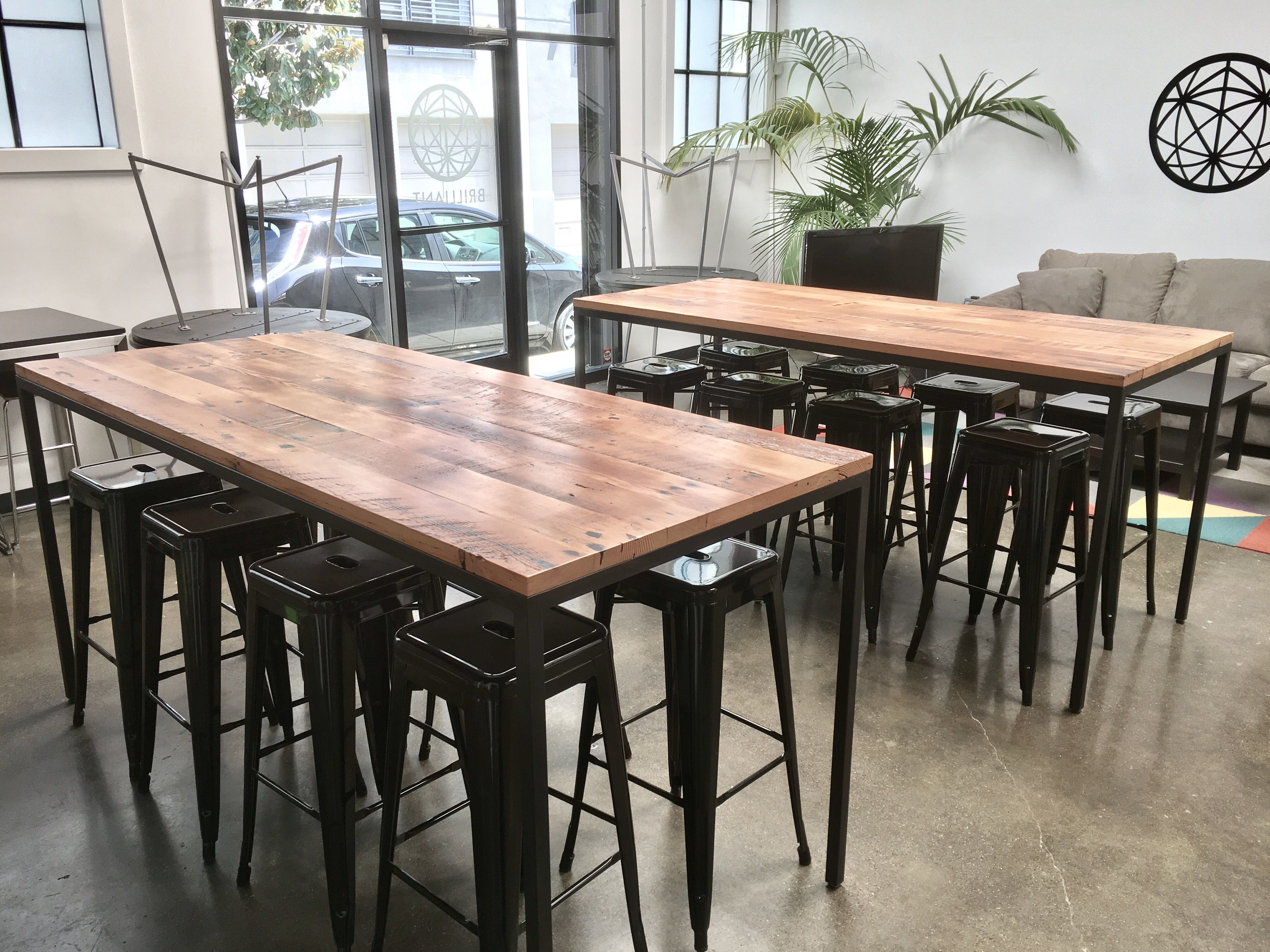 Hand Crafted Industrial Reclaimed Wood Table With Blackened Steel