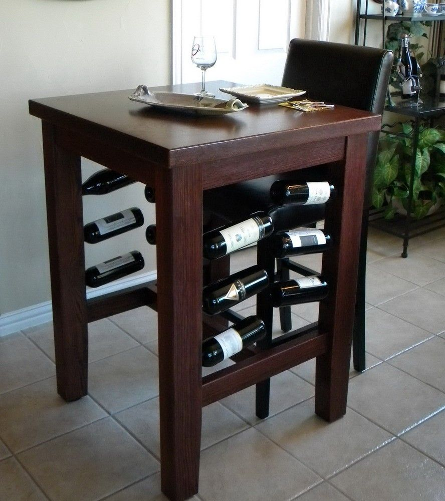 Handmade Brinkman Pub Table With Wine Storage By North