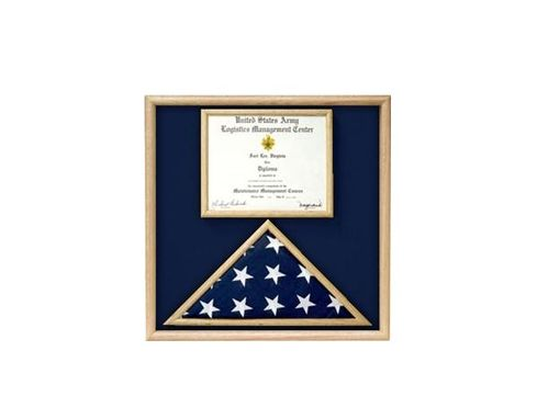 Custom Made Air Force Flag And Certificate Display Case