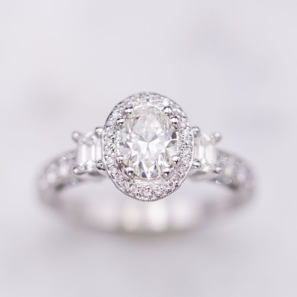 This oval diamond is an example of a brilliant cut, designed for sparkle and brilliance.