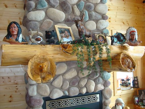Custom Made Log Carved Mantel