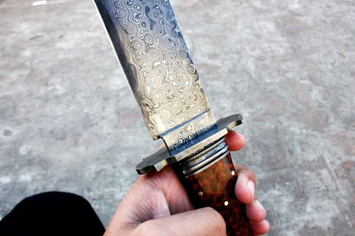 Custom Made Damascus Steel Bowie Hunting Knife 16