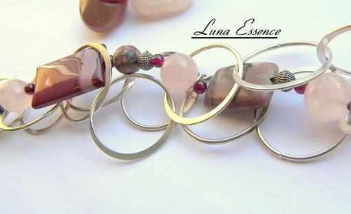 Custom Made Raspberry Pink Swirl Multi Layer Gemstone Bracelet