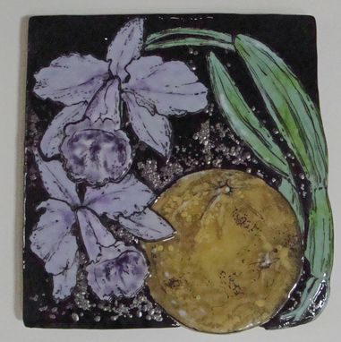 Custom Made Orchid Harvest Moon - Glass Fusing Artwork