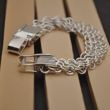 Custom Made Wide European Chainmail Bracelet With Hand Built Clasp