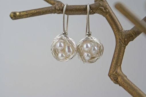 Custom Made Silver Bird's Nest Earrings