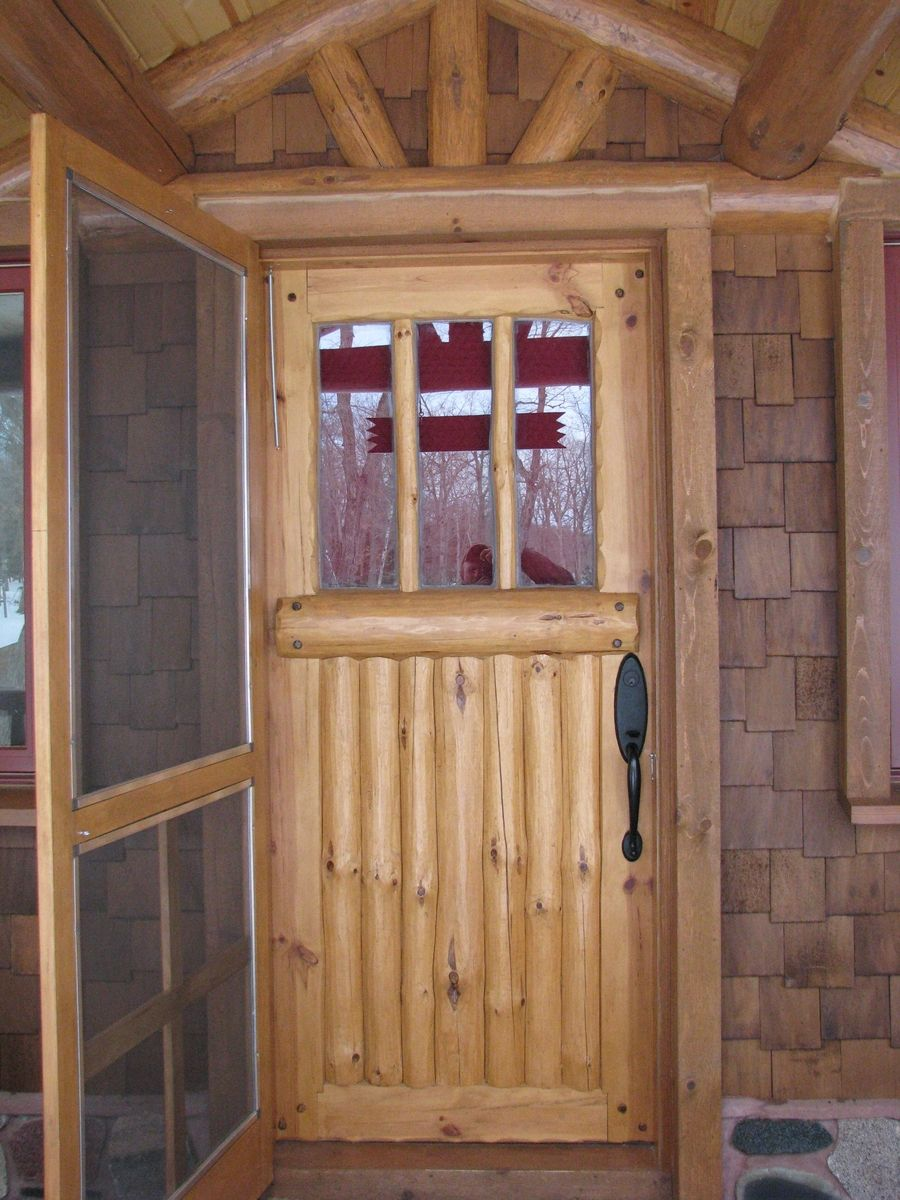 Custom made bolder shores log branch entry door for Front door insulation