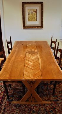 Custom Made Live Edge Herringbone Dining Table