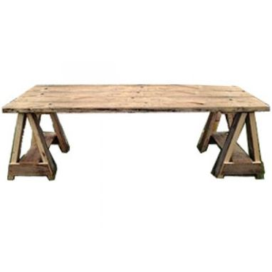 Custom Made Reclaimed Sawhorse Style Dining Table