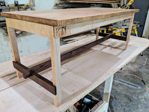 Custom Made Solid Curly Ambrosia Maple And Black Walnut Coffee Table Mid Century