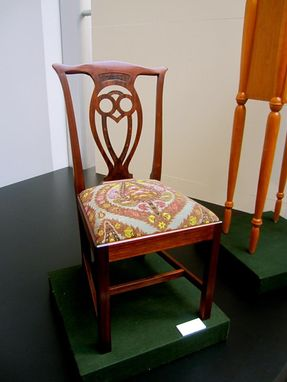 Custom Made Walnut Chippendale-Style Owl Side Chair