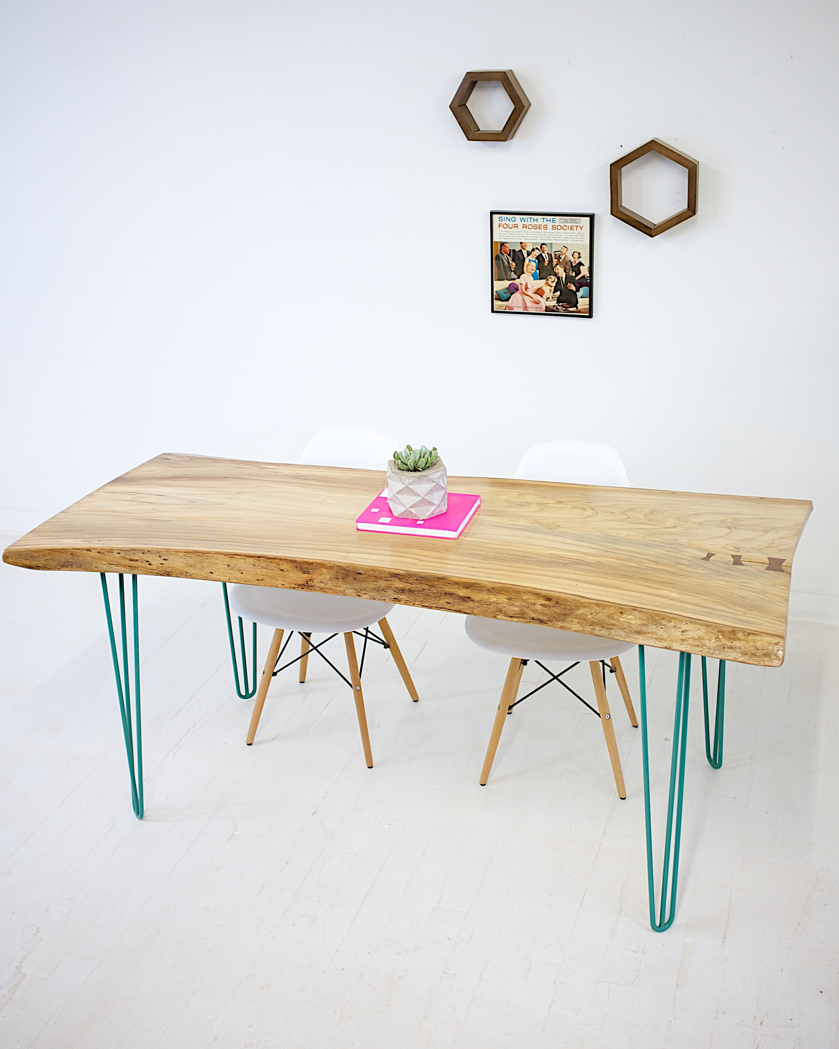 Hand Made Live Edge Elm Slab With Teal Hairpin Legs ly 1