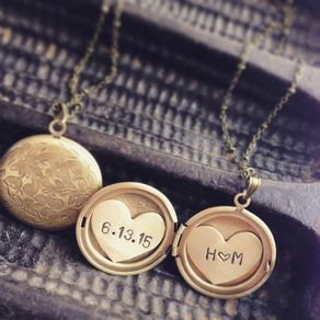 Personalized necklaces personalized pendants custommade initials and date locket necklace heart locket anniversary date engraved locket necklace by aloadofball Images