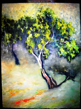 Custom Made Tree Orchard Oil Painting With Green, Yellow And Blue Landscape Painting