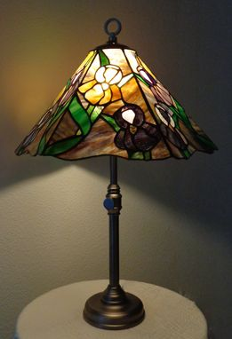Custom Made Iris Garden Stained Glass Lamp