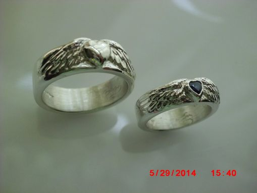 Custom Made Silver And Sapphire Heart In Overlaid 3-D Carved Wings Engraved Inside