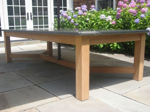 Custom Made Bluestone Teak Table