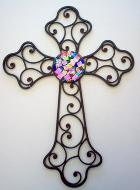 Custom Made Wrought Iron With Dichroic Center Cross, Ready To Ship