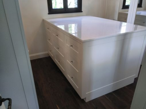 Custom Made Custom Walk-In Closet With Mirrored Doors & Custom Island With 18 Dove Tailed Maple Drawers