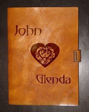 Custom Made Personlized Names & Heart Heavy Leather Ipad Mini/Tablet Case - Design By Brian Scott, Bsd Studios