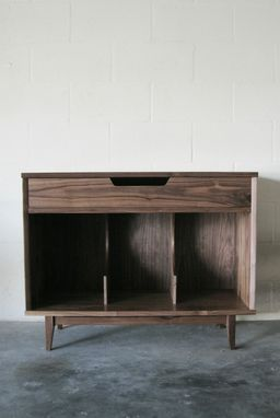 Custom Made Solid Walnut Record Cabinet