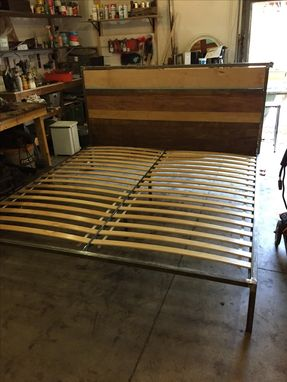 Custom Made Wood And Steel Bed Frame