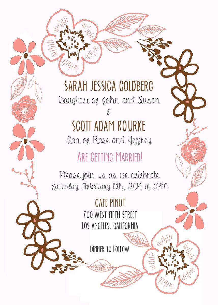 Custom Floral Border Wedding Invitation by Precious Beast ...