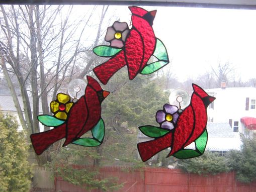 Custom Made Deep Red Stained Glass Cardinal Light Catcher