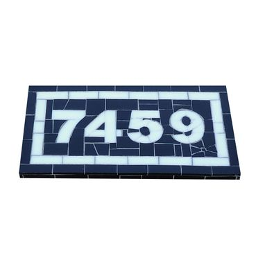 Custom Made Mosaic House Number In Black And White Stained Glass Tiles